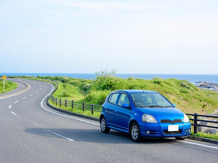海沿いの道路脇に停車する車